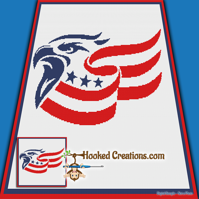 Eagle Flag SC (Single Crochet) Throw Blanket Graphghan Crochet Pattern - PDF Download