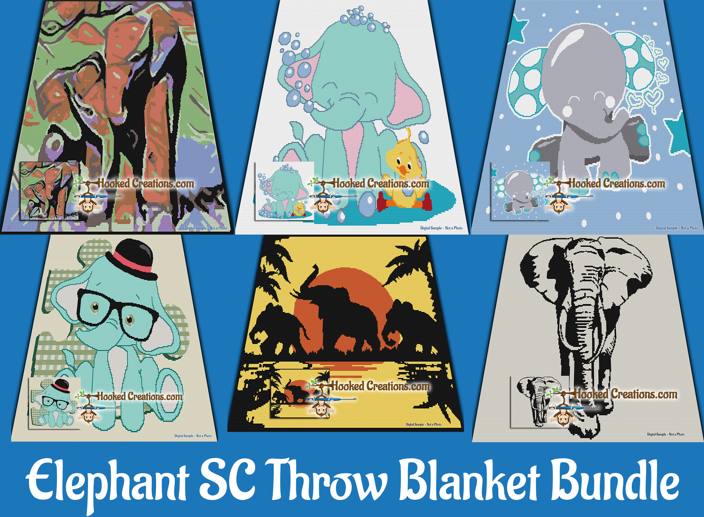 Elephant Throw Blanket SC (Single Crochet) Bundle Graphghan Crochet Patterns  - PDF Download
