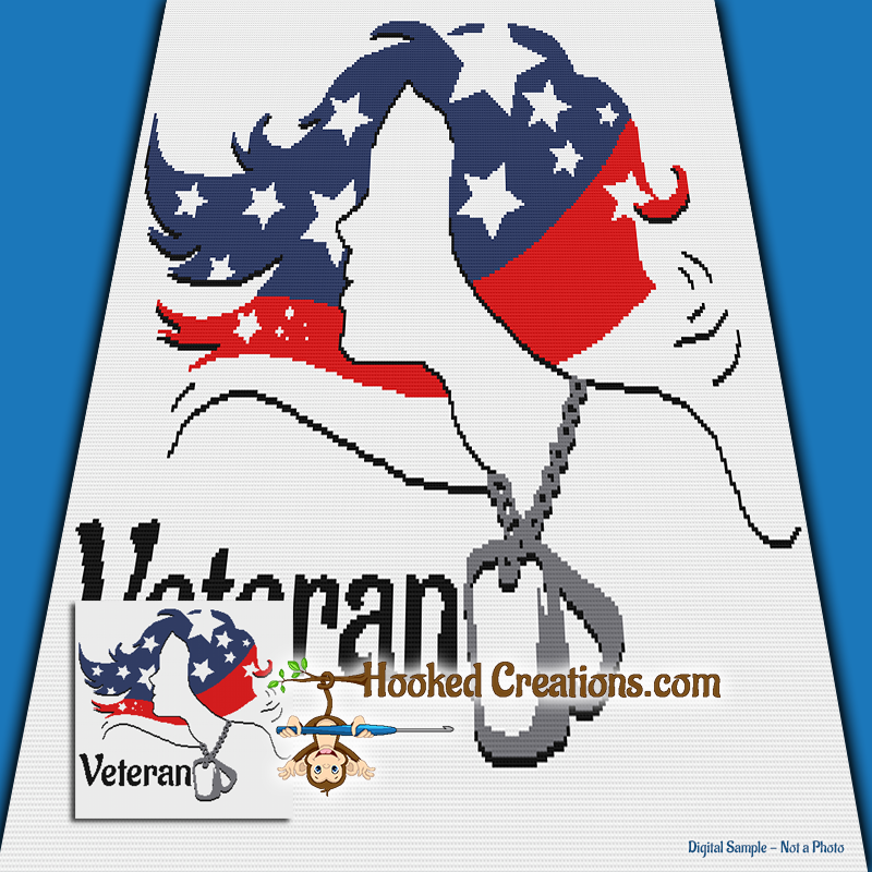 Female Veteran SC (Single Crochet) Throw Blanket Graphghan Crochet Pattern - PDF Download