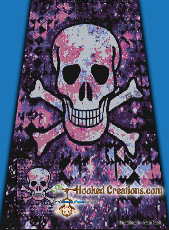Flash Skull SC (Single Crochet) Twin Sized Blanket Graphghan Crochet Pattern - PDF Download