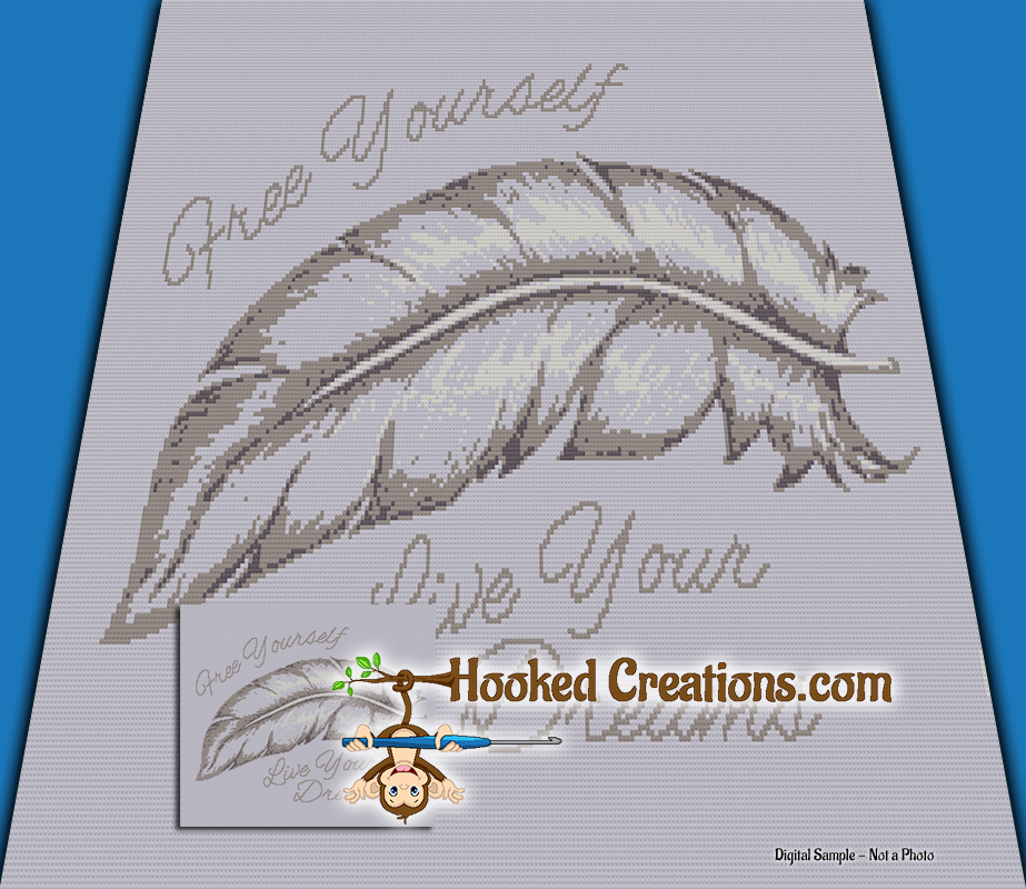 Free Yourself SC (Single Crochet) Throw Blanket Graphghan Crochet Pattern - PDF Download