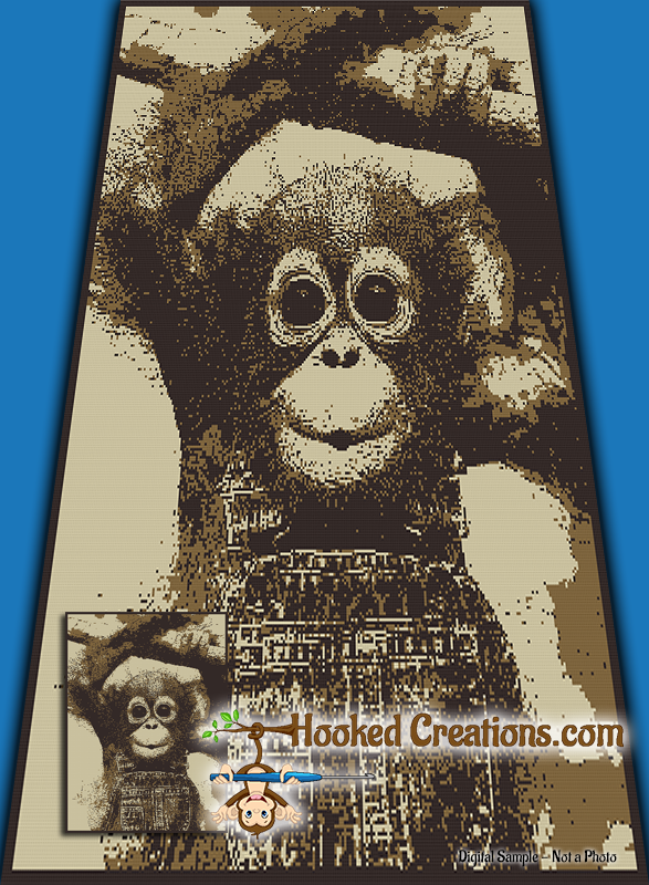 Funky Monkey SC (Single Crochet) Twin Sized Blanket Graphghan Crochet Pattern - PDF Download