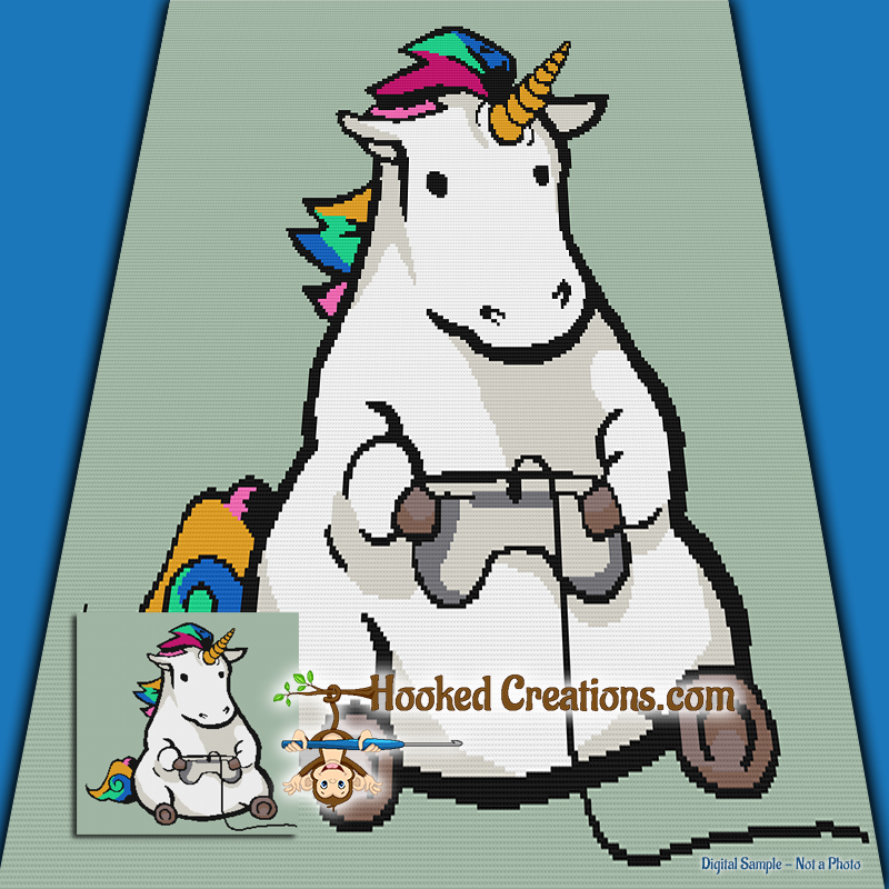 Gaming Unicorn SC (Single Crochet) Throw Blanket Graphghan Crochet Pattern - PDF Download