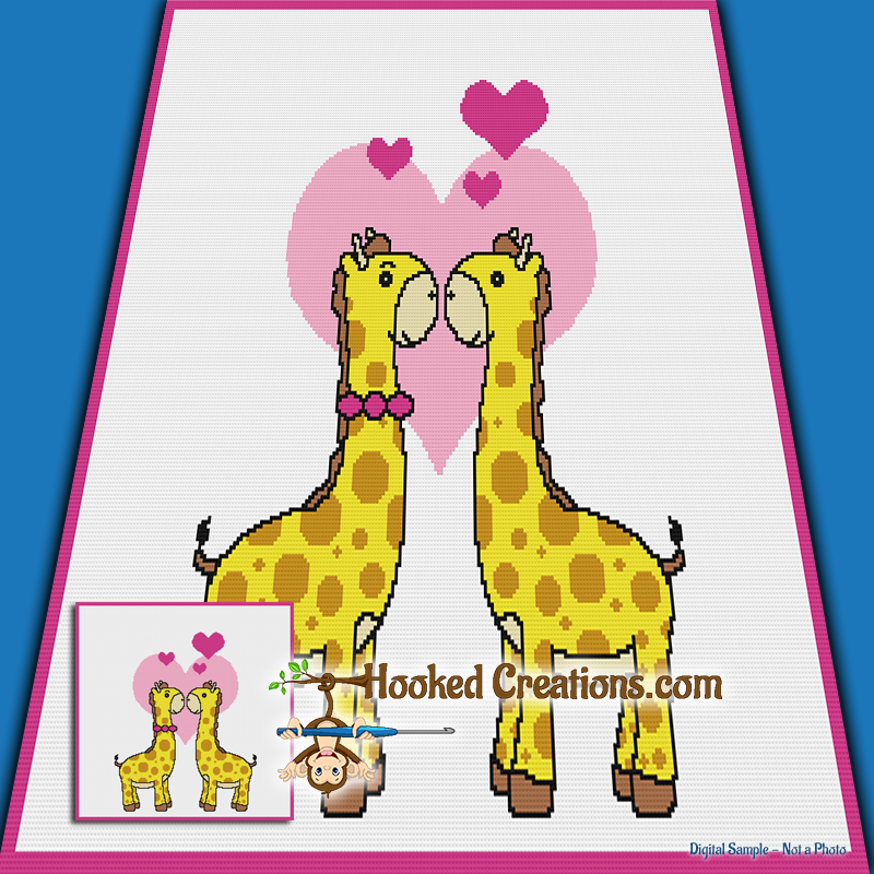 Giraffe Love SC (Single Crochet) Throw Blanket Graphghan Crochet Pattern - PDF Download