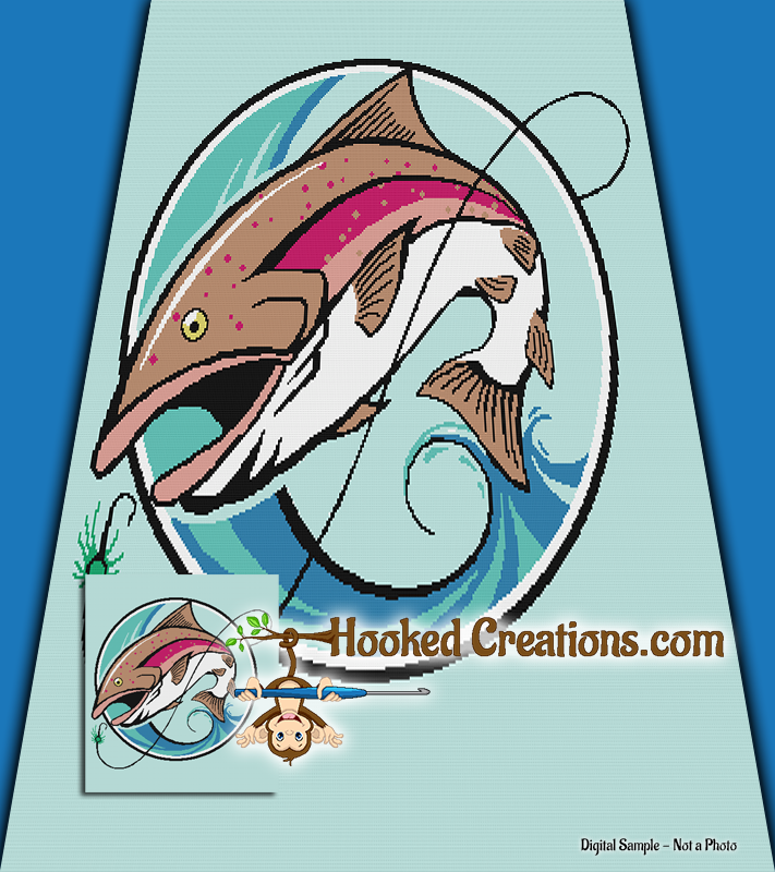 Gone Fishing SC (Single Crochet) Full Blanket Graphghan Crochet Pattern - PDF Download