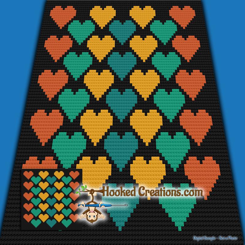 Hearts C2C (Corner to Corner) Throw Blanket Graphghan Crochet Pattern - PDF  Download