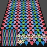 Hearts SC (Single Crochet) Throw Blanket Graphghan Crochet Pattern - PDF Download