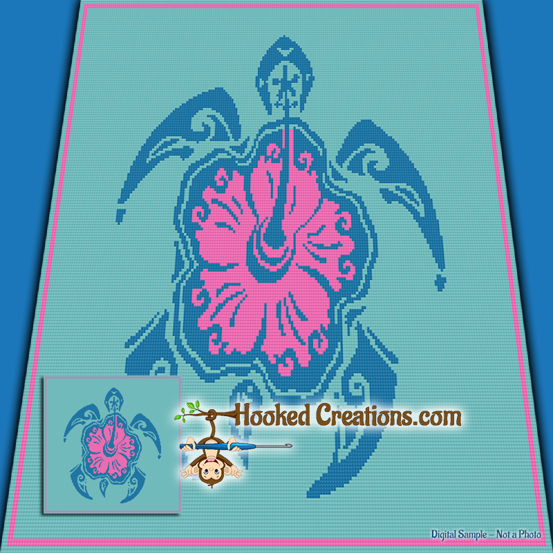 Hibiscus Turtle SC (Single Crochet) Throw Blanket Graphghan Crochet Pattern - PDF Download