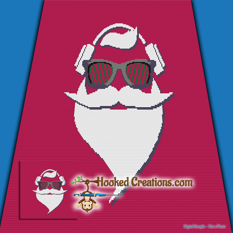 Hipster Santa SC (Single Crochet) Throw Blanket Graphghan Crochet Pattern - PDF Download