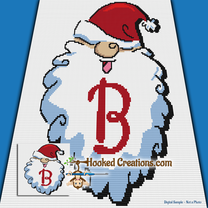 HoHoHo Alphabet-B SC (Single Crochet) Baby Blanket Graphghan Crochet Pattern - PDF Download