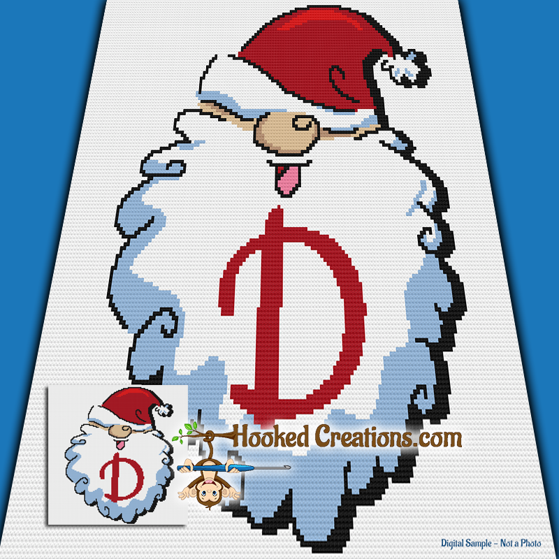 HoHoHo Alphabet-D SC (Single Crochet) Baby Blanket Graphghan Crochet Pattern - PDF Download