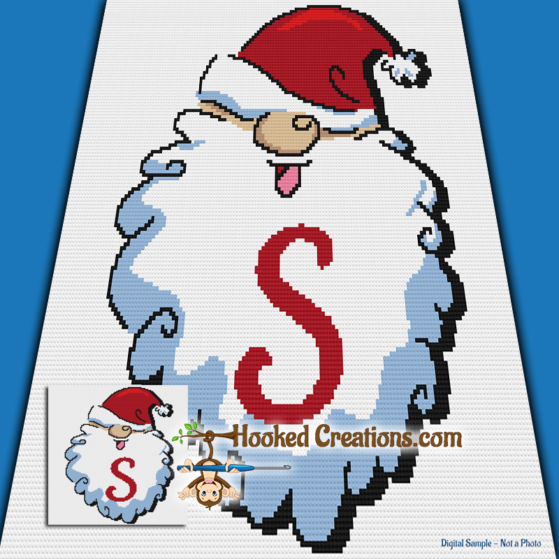 HoHoHo Alphabet-S SC (Single Crochet) Baby Blanket Graphghan Crochet Pattern - PDF Download