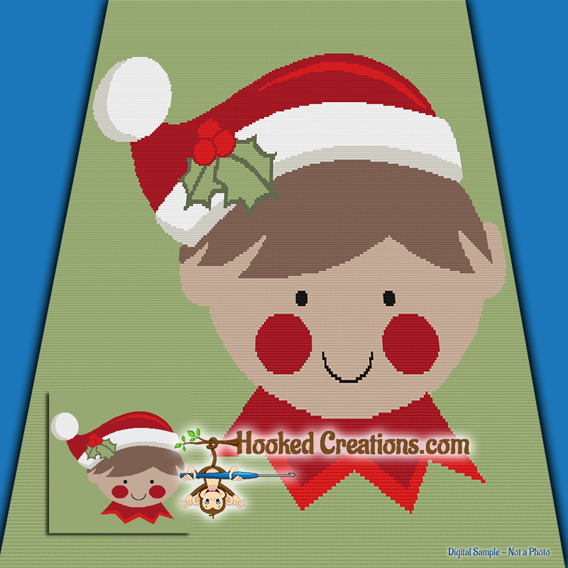 Holiday Elf SC (Single Crochet) Throw Blanket Graphghan Crochet Pattern - PDF Download