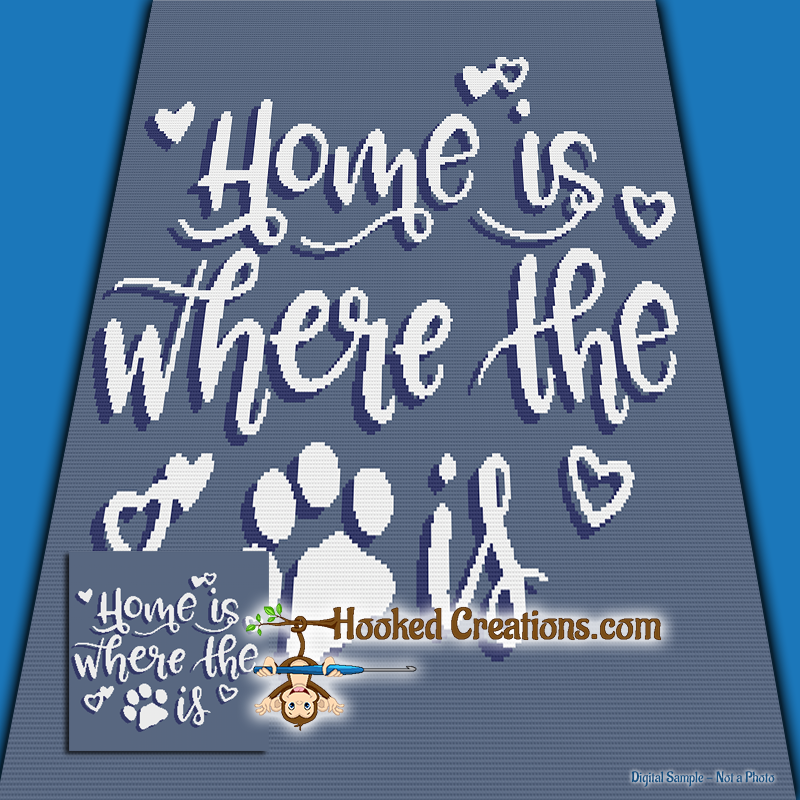 Home is Where SC (Single Crochet) Throw Blanket Graphghan Crochet Pattern - PDF Download