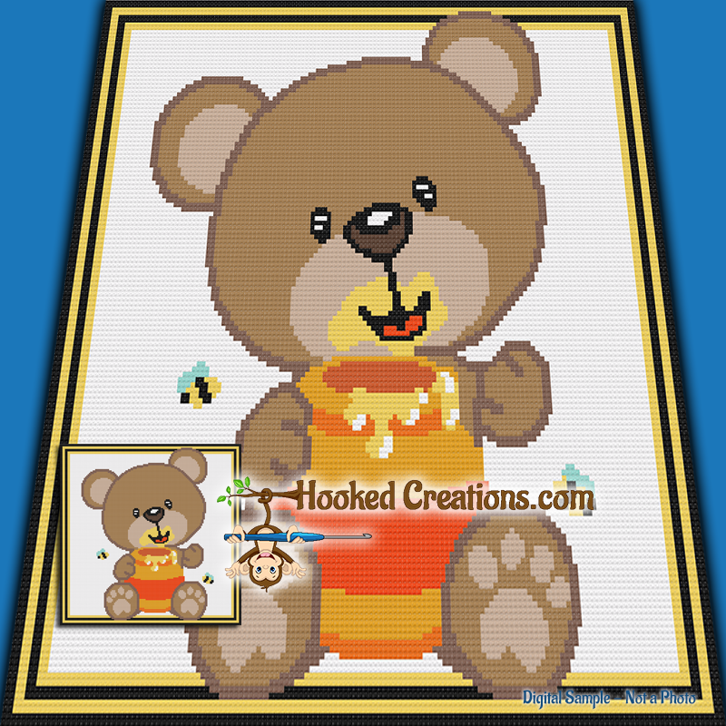 Honey Bear TSS  (Tunisian Simple Stitch) Left Handed Baby Blanket Graphghan Crochet Pattern - PDF Download