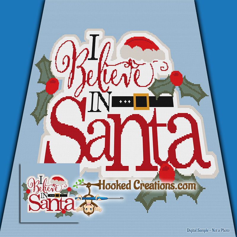 I Believe in Santa TSS (Tunisian Simple Stitch) Right Handed Throw Blanket Graphghan Crochet Pattern - PDF Download