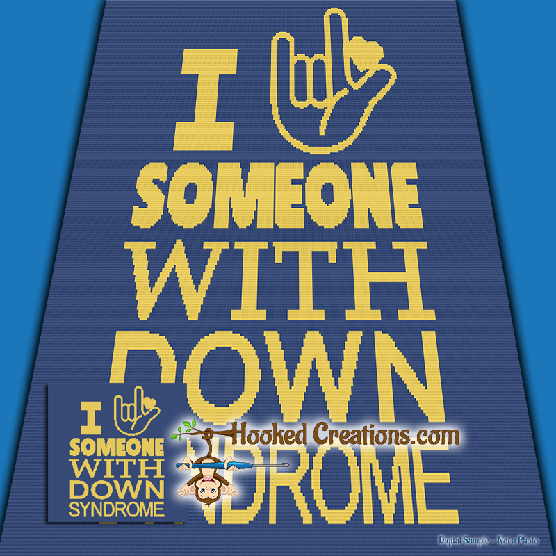 I Love Someone with Down Syndrome SC (Single Crochet) Throw Blanket Graphghan Crochet Pattern - PDF Download