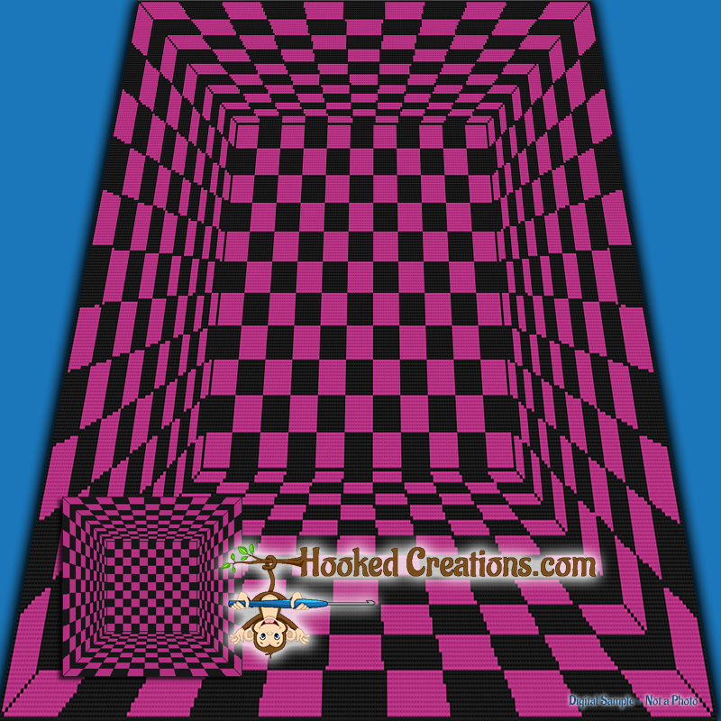 In The Cube SC (Single Crochet) Throw Blanket Graphghan Crochet Pattern - PDF Download