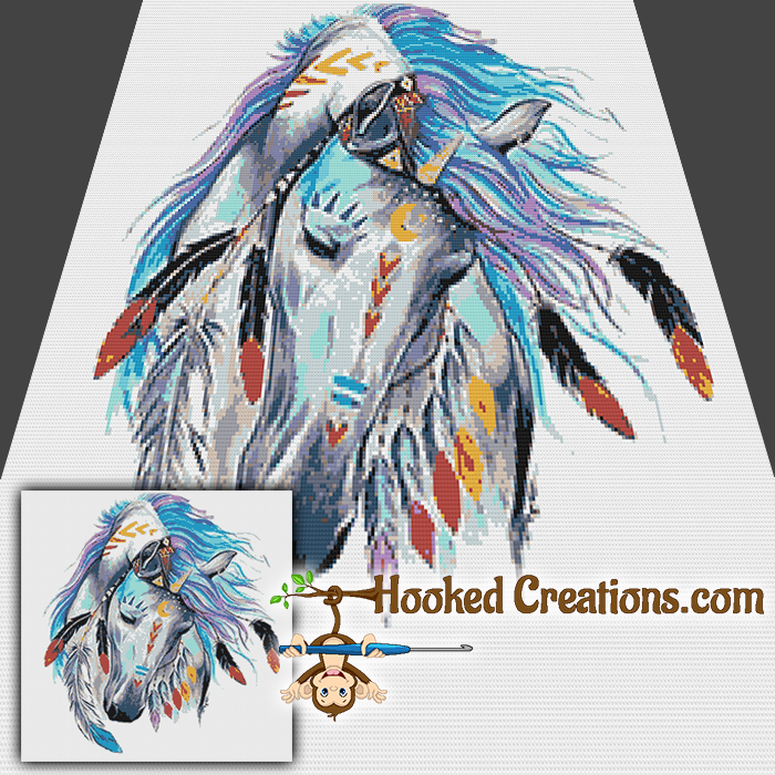 Indian Horse SC (Single Crochet) Throw Blanket Graphghan Crochet Pattern - PDF Download