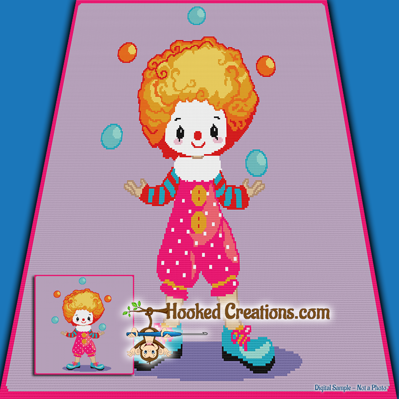 Juggling Clown SC (Single Crochet) Throw Blanket Graphghan Crochet Pattern - PDF Download