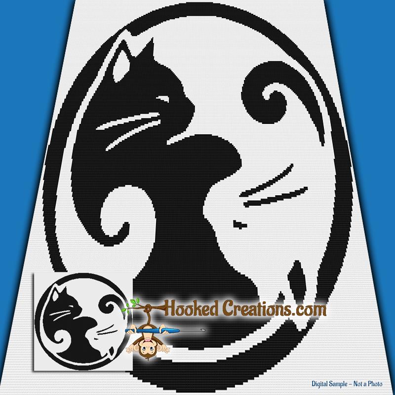 Kitty Yin Yang Sc Throw Blanket Crochet Pattern Pdf Download