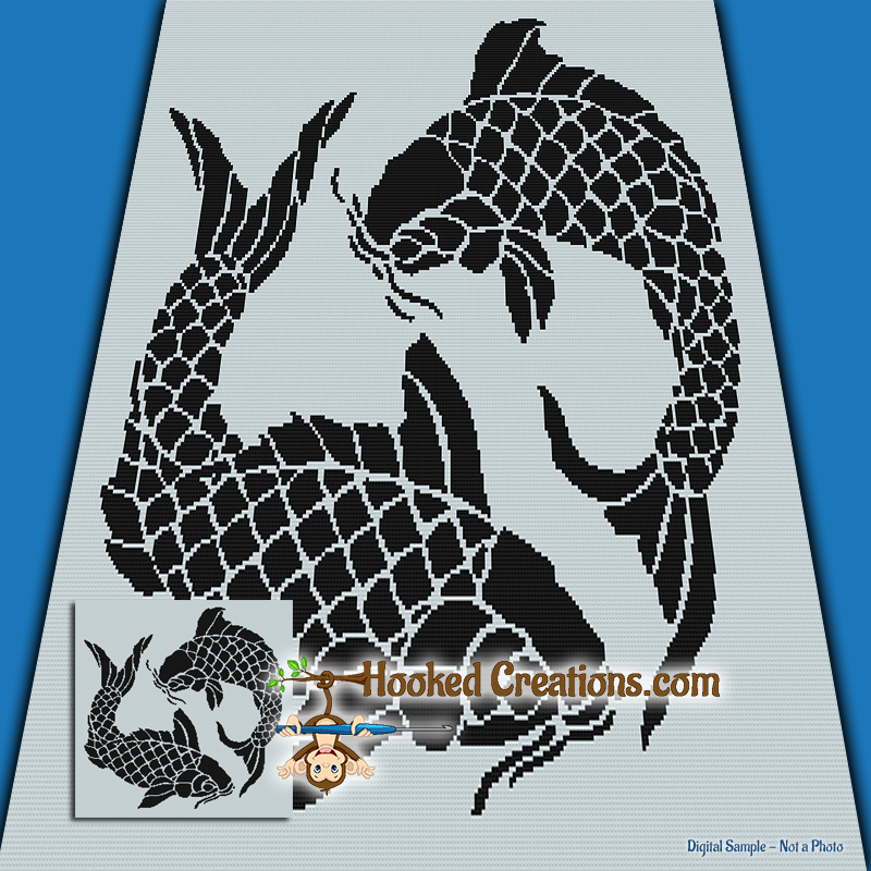 Koi SC (Single Crochet) Throw Blanket Graphghan Crochet Pattern - PDF Download