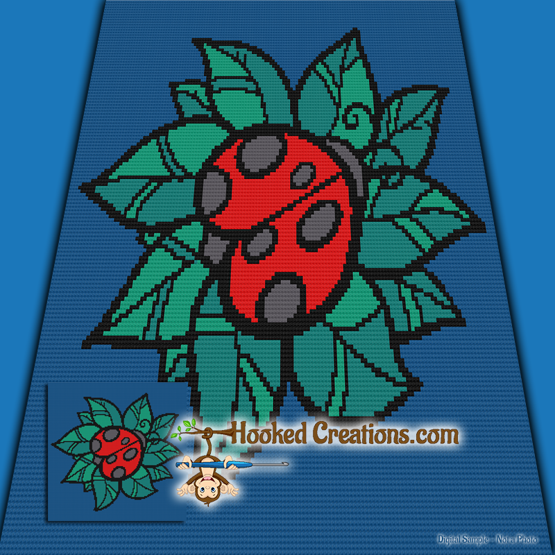 Ladybug TSS (Tunisian Simple Stitch) Right Handed Baby Blanket Graphghan Crochet Pattern - PDF Download