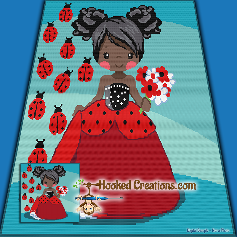 Ladybug Girl TSS  (Tunisian Simple Stitch) Right Handed Throw Blanket Graphghan Crochet Pattern - PDF Download