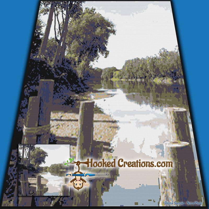 Lake Side Dock SC Throw Blanket Crochet Pattern - PDF Download