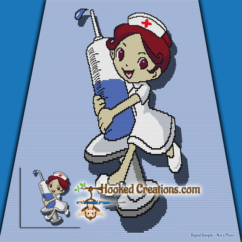 Little Nurse SC (Single Crochet) Throw Blanket Graphghan Crochet Pattern - PDF Download