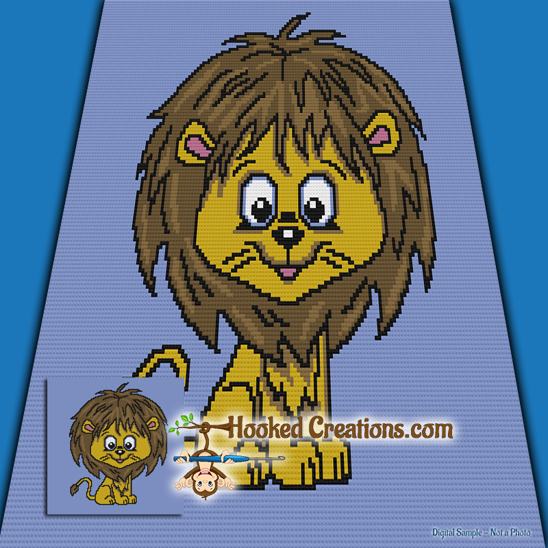 Little Roar SC (Single Crochet) Baby Blanket Graphghan Crochet Pattern - PDF Download
