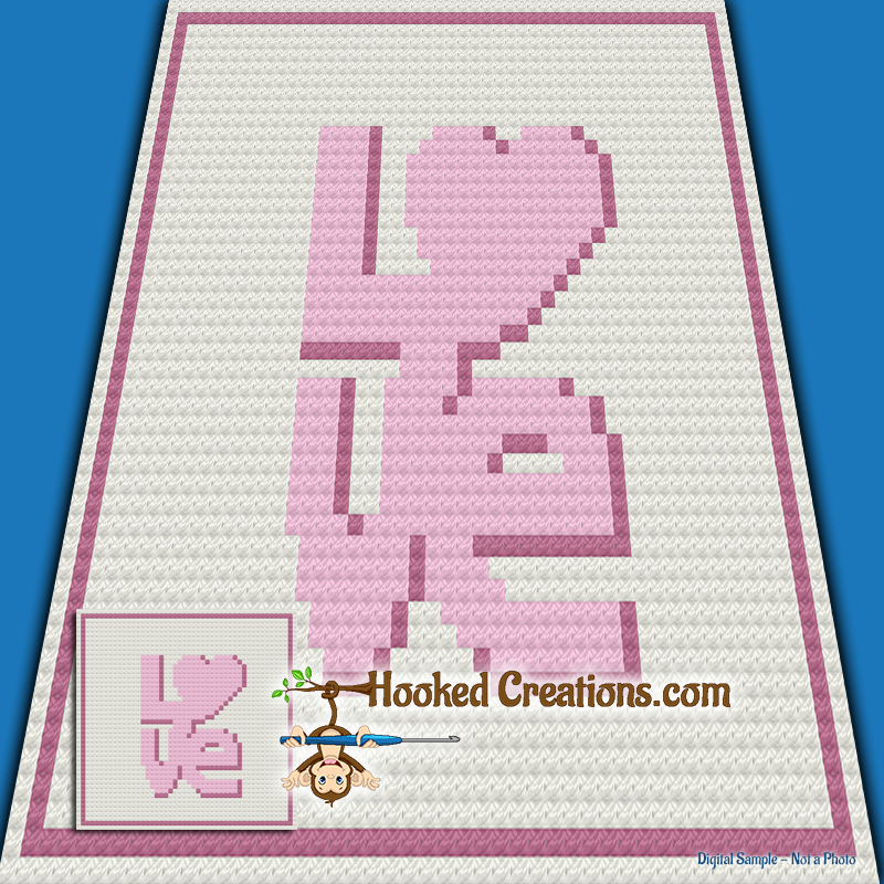LOVE Baby Blanket C2C Crochet Pattern - PDF Download