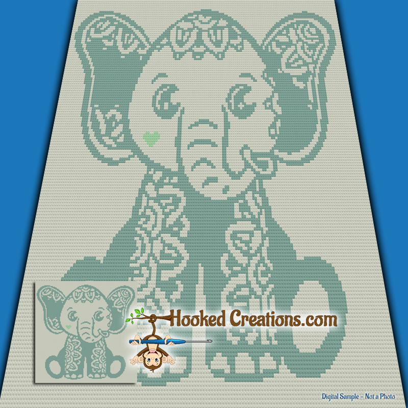 Mandala Elephant SC (Single Crochet) Baby Blanket Graphghan Crochet Pattern - PDF Download