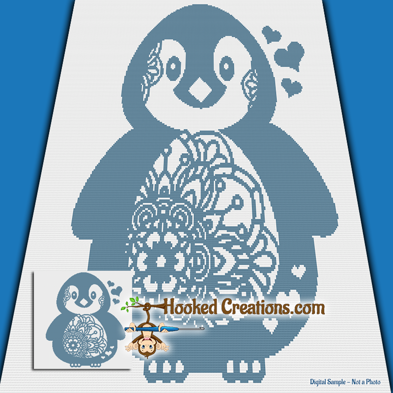 Mandala Penguin SC (Single Crochet) Throw Blanket Graphghan Crochet Pattern - PDF Download