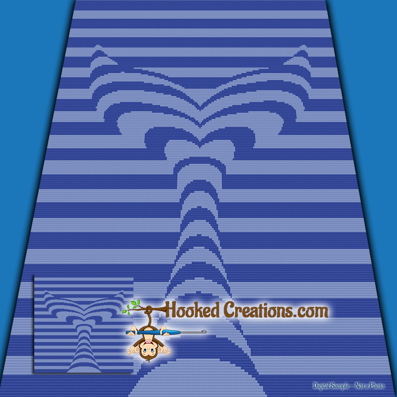 Mermaid Tail TSS (Tunisian Simple Stitch)-Right Handed Throw Blanket Graphghan Crochet Pattern - PDF Download