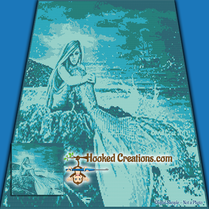 Mermaid on the Rocks SC (Single Crochet) Throw Blanket Graphghan Crochet Pattern - PDF Download