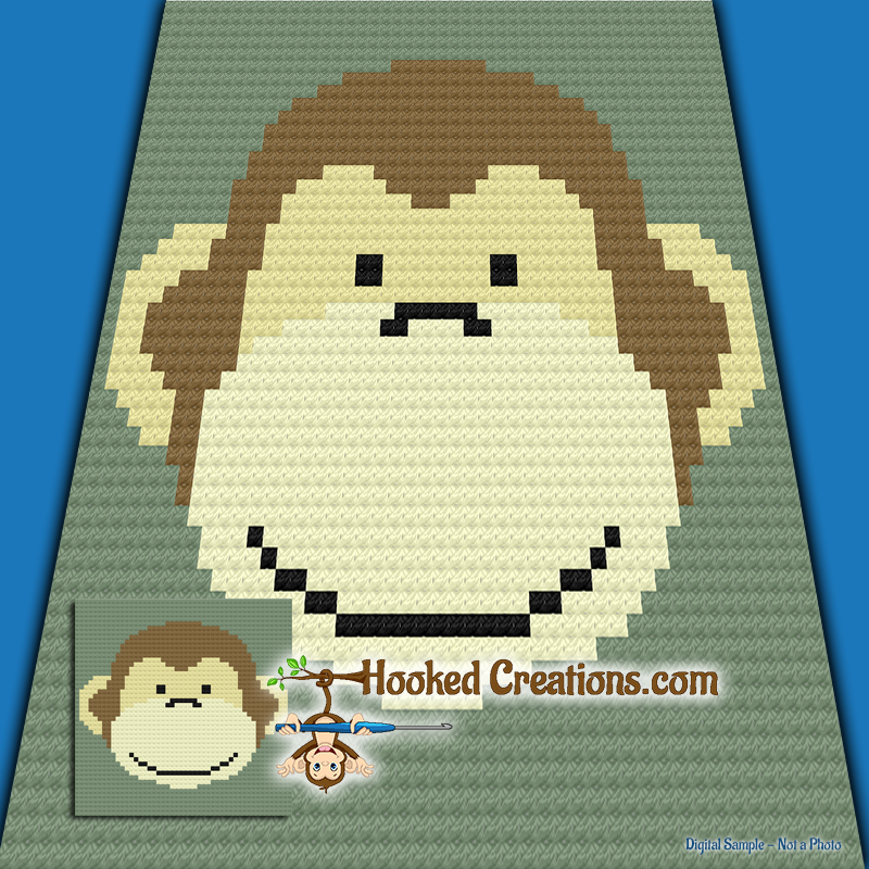 Monkey Face C2C (Corner to Corner) Baby Blanket Graphghan Crochet Pattern - PDF Download