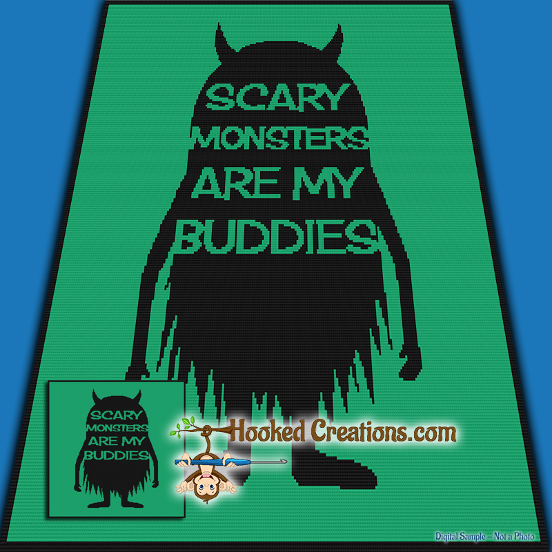 Monster Buddies SC (Single Crochet) Throw Blanket Graphghan Crochet Pattern - PDF Download