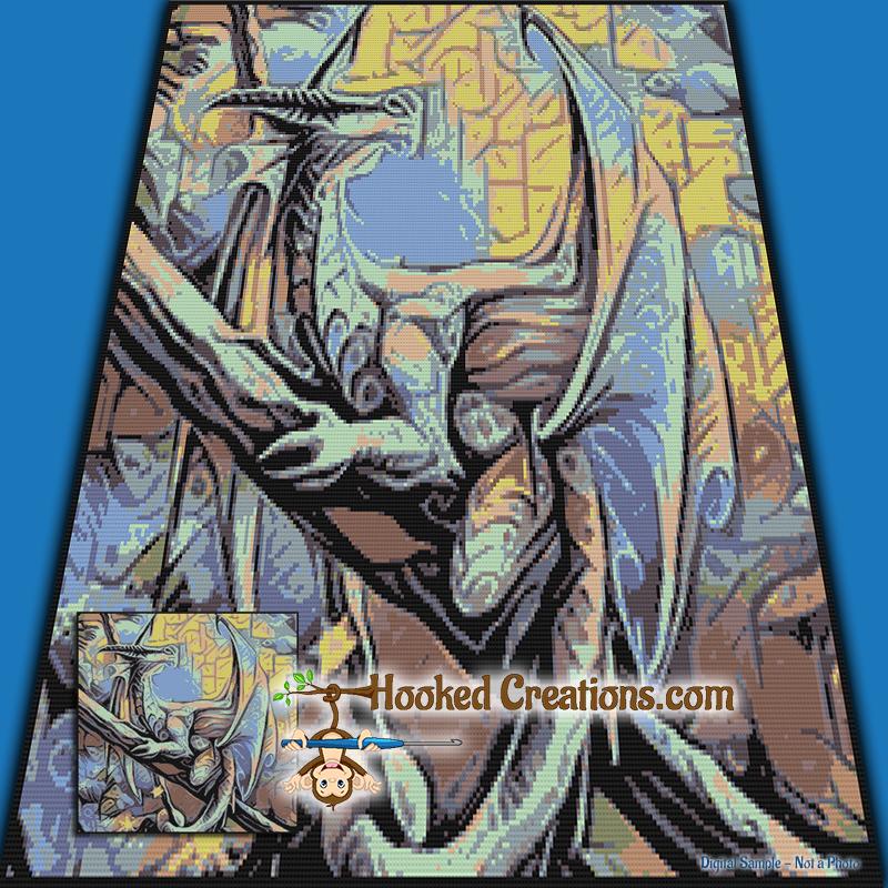 Mosaic Dragon Sc Throw Blanket Crochet Pattern Pdf Download