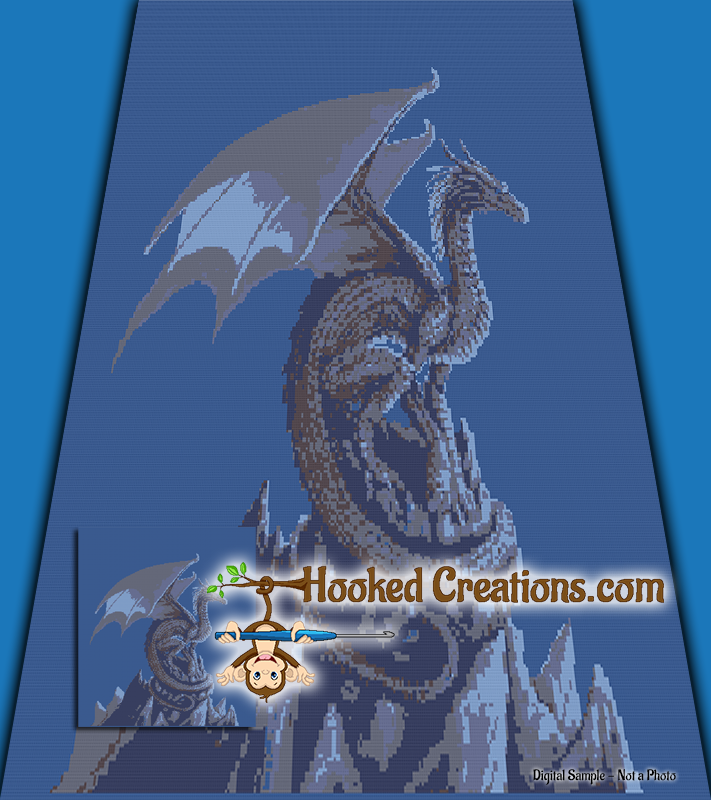 Mountain Top Dragon SC (Single Crochet) Full Size Blanket Graphghan Crochet Pattern - PDF Download