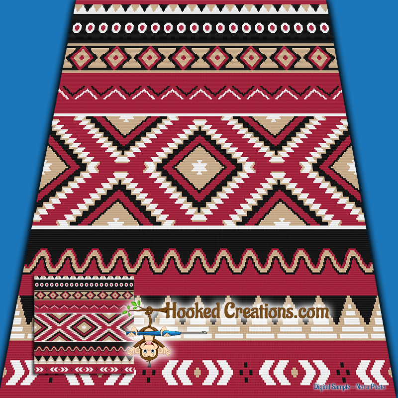 Native American Inspired SC (Single Crochet) Throw Blanket Graphghan Crochet Pattern - PDF Download