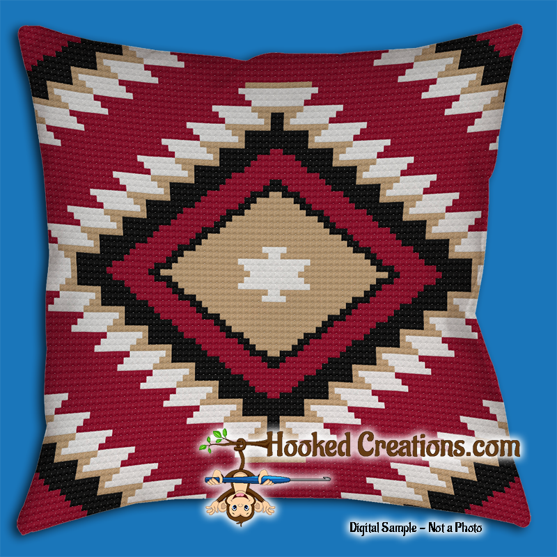 Native American Inspired SC (Single Crochet) Throw Pillow Graphghan Crochet Pattern - PDF Download