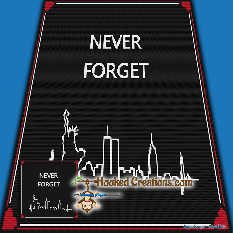 Never Forget 9-11 SC Throw Blanket Crochet Pattern - PDF Download
