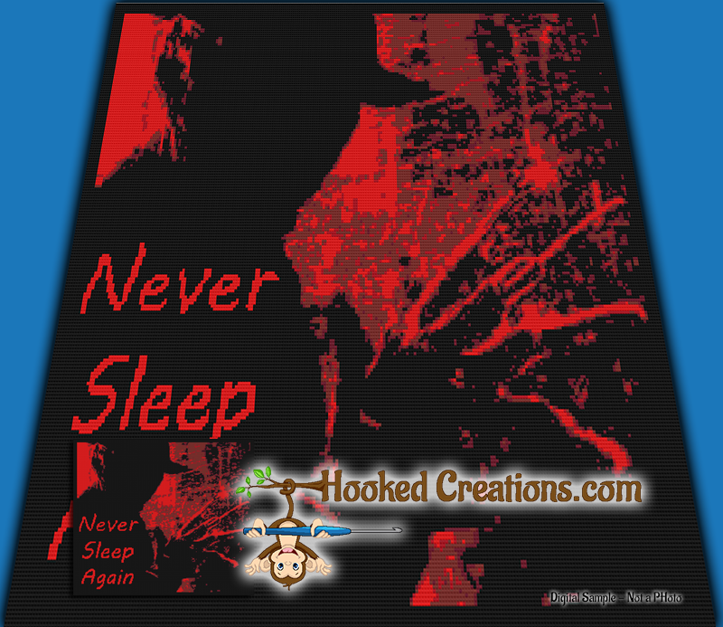 Never Sleep Again SC (Single Crochet) Throw Size Blanket Graphghan Crochet Pattern - PDF Download