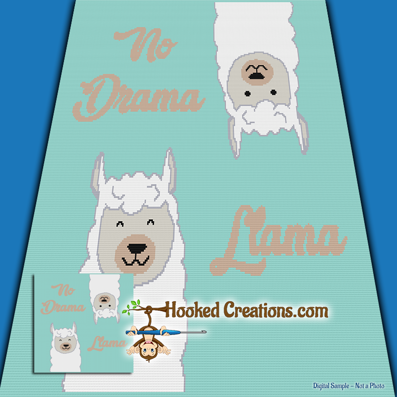 No Drama Llama SC (Single Crochet) Throw Blanket Graphghan Crochet Pattern - PDF Download