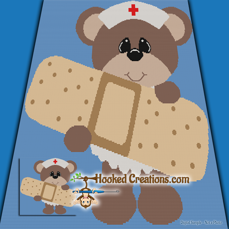 Nurse Teddy SC (Single Crochet) Throw Blanket Graphghan Crochet Pattern - PDF Download