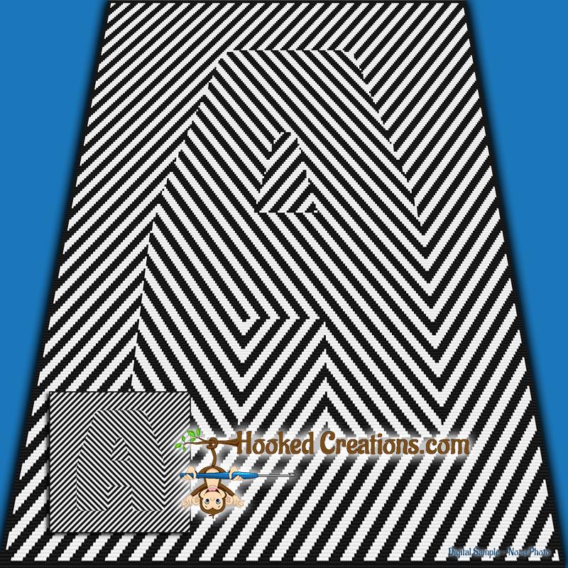 Optical Alphabet A Sc Throw Blanket Crochet Pattern Pdf Download