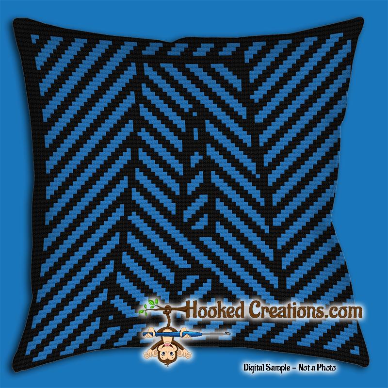 Optical Alphabet A Sc Single Crochet Throw Pillow Graphghan