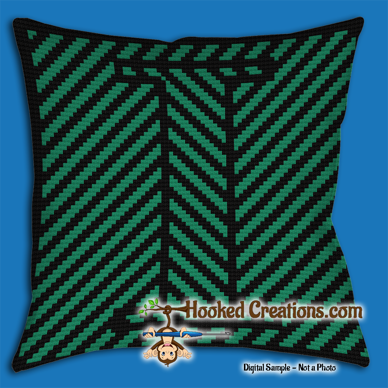 OPTICAL ALPHABET – I SC (Single Crochet) Throw Pillow Graphghan Crochet Pattern - PDF Download