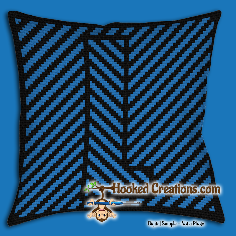 OPTICAL ALPHABET – L SC (Single Crochet) Throw Pillow Graphghan Crochet Pattern - PDF Download